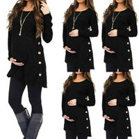 Womens Maternity Pregnanty Long Sleeve Solid Button Autumn Winter Top Blouse