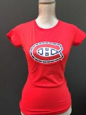 Montreal Canadiens NHL Habs Logo Red Jeweled Tee T-Shirt Size Small Women's NWT