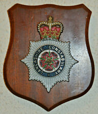 Lancashire Constabulary mess wall plaque shield crest Police