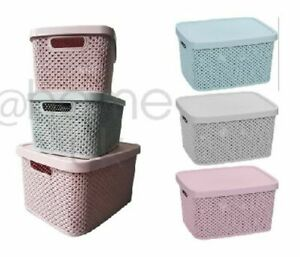 PLASTIC STORAGE Basket with LID - Bathroom Kitchen Home Office Stack Boxes 2021