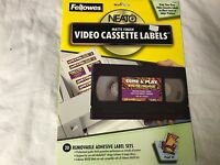 Fellowes Video Cassette Labels Set of 20 Labels Spine and Face Inkjet & Laser
