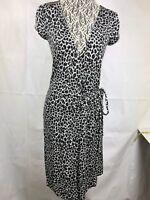 Express NWT Women's Wrap Dress Size S Animal Leopard print short sleeve  75