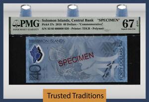 TT PK 37s 2018 SOLOMON ISLANDS 40 DOLLARS SPECIMEN PMG 67 EPQ SUPERB GEM UNC!