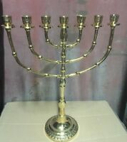 Jerusalem Menorah 15 Inch Height Brass 7 Branches Menorah Jewish Israel Judaica