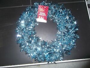 brand new blue tinsel wreath for door