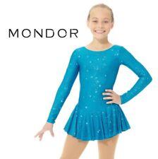 MONDOR Blue Peony Shimmery Figure Skating Competition Dress Child & Adult Sizes
