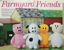 KNITTING PATTERN Farmyard Animals Pig Cow Sheep Duck Farm Toys 13cm tall PATTERN