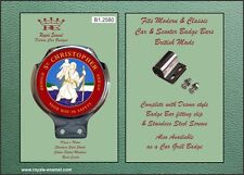 Royale Classic Car Scooter Badge & Desmo Bar Clip ST CHRISTOPHER RED B1.2580