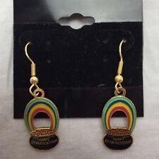 VTG 1973 St Patricks Day Dangle Pot of Gold Rainbow Earrings Klein International
