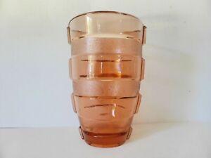 Pink Depression Glass Vase, 1930s Vintage, Large Art Deco Rose Glass Flower Vase