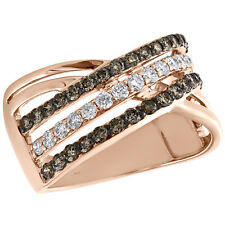 Row Crossover Right Hand Ring 0.87 Ct. 10K Rose Gold Brown Diamond Women's 3