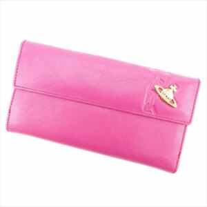 Vivienne Westwood Wallet Purse Orb leather Pink Woman Authentic Used I502