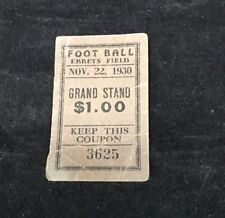 VIntage NFL Football Ticket Stub BROOKLYN DODGERS Ebbets Field 1st Year 11/22/30