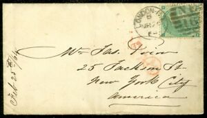 EDW1949SELL : GREAT BRITAIN 1864 cover franked with Sc #42 SG #90 Plate 1 to USA