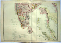 Southern India - Original 1882 Map by Blackie & Son. Ceylon Antique