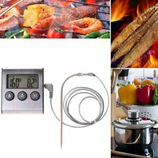 Kitchen Oven Thermometer Cooking Timer BBQ Temperature Sensors Alarm Clock 2018