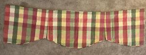 "Box Pleated Valance w/stripes & plaids 54"" x 15"" yellow, green, orange"