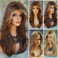 Women Ladies Ombre Blonde Long Curly Wigs Natural Brown Wavy Hair Cosplay Wig