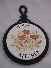 """VTG MID STATE TILE TRIVET #1 MOM KITCHEN YELLOW GOLD FLOWERS WALL COUNTER 7-1/2"""""""