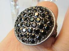 Scrollwork Cross BLACK SPINEL Gunmetal Silver Dome Cocktail Ring from NYC II 9
