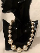 STATEMENT Gold Cream Beaded Faux Pearl Bib Collar Chain Necklace Big Large