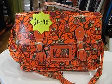 Moda Bolso Nuevo con Etiquetas Neón Naranja sólo con Dibujo de Búho de bolso estructurado Hule