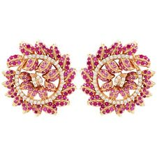 Rose Gold Finish Sterling Silver Lab-created Ruby with CZ's Round Leaf Earrings