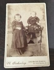 Antique NY NY Photograph Two Young Girls Dressed In Black Cabinet Photo Card