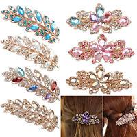 EE_ Women Flower Leaf Crystal Rhinestone Hair Barrette Clip Hairpin Jewelry Glit