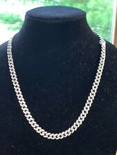 "Link Chain 8mm 22"" 925 Silver Iced Out Cuban"