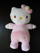 b12- DOUDOU PELUCHE hochet grelot HELLO KITTY SANRIO JEMINI  BLANC ROSE 22cms