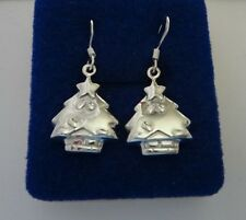 Sterling Silver 20x15mm Cute 4 gram Whimsical Christmas Tree 15mm Wire Earrings