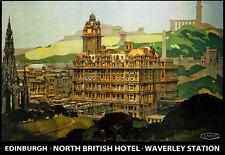 Edinburgh North British Hotel Waverley Station LNER Train Rail   Poster Print