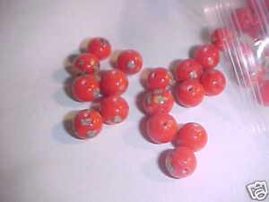 60 Vintage Japanese Lampwork Beads Red w Color Millefiori 10 mm 1950's Japan