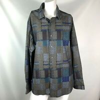 tallia men's shirt size large long sleeve button down blue green maroon patch