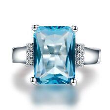 New Large 10 * 14 MM Topaz Aquamarine Promise Ring Engagement Jewelry Wholesale