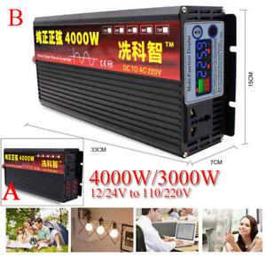 4000W Car Solar Pure Sine Wave Power Inverter 12/24 To AC110/220V LED Converter