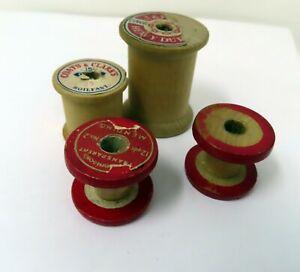 """Vintage Old Wood Spool Lot of 4 J&P 2"""", Coats & Clark 1.5"""", Dennison Red 1"""""""