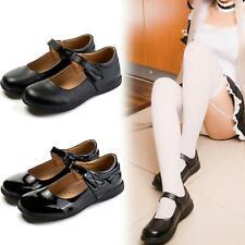 Women Girls Lolita Low Flat Heel Pump School Uniform Buckle Leather Shoe Cosplay