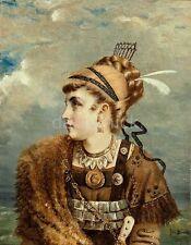 "Fritz Beinke Viking Princess With Gold & Silver Jewellery & Fur Cape 8x6"" Print"