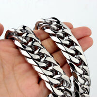 Fashion Silver Polished Men Stainless Steel Curb Cuban Chain Necklace Bracelet