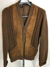 1950s Campus Cardigan Long Sleeve Wool Vintage Suede Leather Rib Knit Sweater