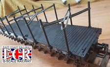 G SCALE 45mm GAUGE FLATBED, UPRIGHTS & BLACK BANDS RAILWAY TRUCK TRAIN FLAT BED