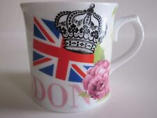 LONDON Coffee Cup Fine China MUG Shape MAP Flag Crown PINK Rose Abbey Rd ENGLAND