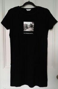 Next - Lovely Black 'Let Sleeping Cats Lie' Cotton Nightdress - Size 12 - BNWOT