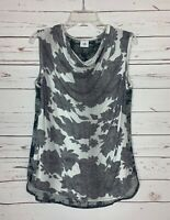 Cabi Women's S Small Gray Black Tango Floral Sleeveless Draped Tank Top Blouse