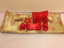 GOLD AND RED BROCADE DOUBLE BEDDING SET FOR BARBIE, MONSTER HIGH, OR BRATZ DOLLS