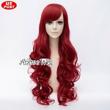 The Little Mermaid Ariel 80CM Long Red Curly Hair Women Cosplay Wig With Bangs
