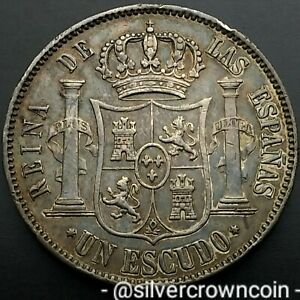 SCC Spain Un Escudo 1867. KM#626.1. .900 Silver  coin. 6-pointed star. Isabel ll