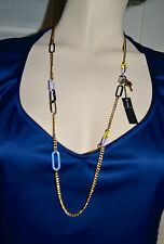 NWT $128 MARC by MARC JACOBS Link Necklace Retro Disco Yellow Multi Gold Plate
